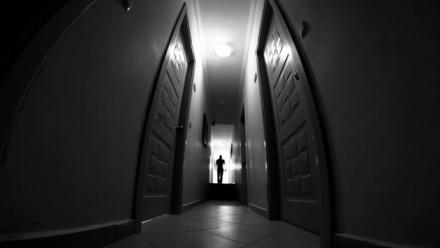 Silhouette in corridor